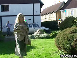 Granny rides her son in law cock outdoor